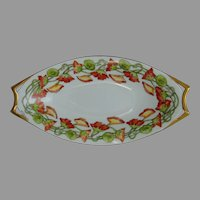 "Hutschenreuther Bavaria Nasturtium Motif Dish/Tray (Signed ""R.L. Sheppard""/Dated 1910)"