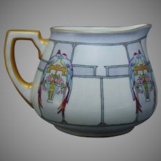 "WG&Co. Limoges Bird & Floral Basket Design Cider/Lemonade Pitcher (Signed ""Mabel Alice Kroh""/c.1910-1930)"