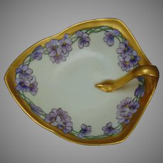 "German Porcelain Violet Design Lemon Server/Nappy (Signed ""Deming""/c.1910-1930)"