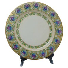 "Limoges ""Mark 6"" Enameled Peacock Design Plate (Signed ""TKS""/c.1910-1930)"