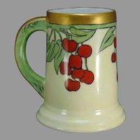 "T&V Limoges Cherries Design Tankard/Mug (Signed ""RMA""/c.1910-1930)"