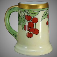 "T&V Limoges Cherries Design Tankard/Mug (Signed ""RMA""/c.1910-1930)"
