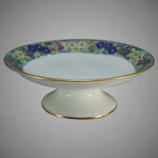 "GDA Limoges Enameled Floral Design Pedestal Bowl (Signed ""Vance""/c.1910-1940)"