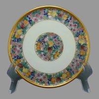 """ZS&Co. Bavaria Enameled Fruit & Floral Design Trivet/Plate (Signed """"J.H.H.""""/c.1910-1930)"""