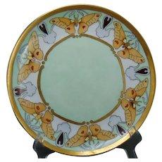 """Bassett Limoges Butterfly Design Plate (Signed """"E.H.""""/Dated 1910) - Keramic Studio Design"""
