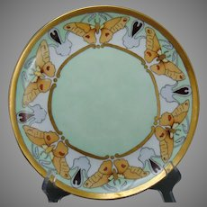 "Bassett Limoges Butterfly Design Plate (Signed ""E.H.""/Dated 1910) - Keramic Studio Design"