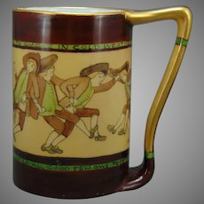 "JP Limoges Reveling Colonials Design Tankard/Mug (Signed ""J.L.O.""/Dated 1905) - Keramic Studio Design"