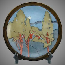 "WG&Co. Limoges Scenic Village ""Decorative Landscape"" Design Plate (Signed ""L. Rolsch""/Dated 1910) - Keramic Studio Design"