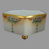 """T&V Limoges Daisy Design Footed Planter/Jardinière (Signed """"M. Stires""""/c.1910-1930)"""