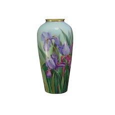 "Porcelain Blank Iris Design Vase (Signed ""Anna A. Michel""/c.1900-1930)"