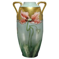 Large Austrian Blank Porcelain Poppy Design Vase (c.1900-1940)
