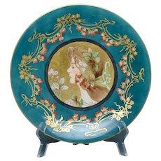 "T&V Limoges ""Privat Livemont Strawberry Lady"" Design Plate (c.1900-1920) - Keramic Studio Design"
