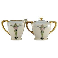 """Lenox Belleek (American) Art Deco Floral Creamer & Sugar Set (Signed """"V. Meyers""""/c.1910-1930)"""
