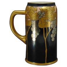 """Lenox Belleek (American) Grape Design Tankard/Mug (Signed """"N.W.P.""""/Dated 1912) - Keramic Studio Design"""