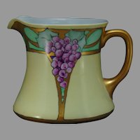 "O&EG Austria Grape Design Pitcher (Signed ""Nettie Jackson""/c.1910-1930)"