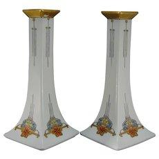 """B&Co. Limoges Art Deco Floral Design Candlesticks (Signed """"S. Scheuber""""/c.1910-1940)"""