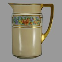 "Lenox Belleek (American) Enameled Fruit Design Pitcher (Signed ""A.E. Rowe""/c.1906-1924) - Keramic Studio Design"