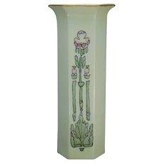 """Japan Porcelain Blank Arts & Crafts Floral Design Vase (Signed """"A.H.""""/c.1910-1940) - Keramic Studio Design"""