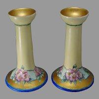 """O&EG Austria Wild Rose Design Candlesticks (Signed """"E.R. McCoy""""/c.1900-1930)"""