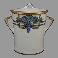 "Hutschenreuther Selb Bavaria Grape Design Jelly/Jam Jar (Signed ""E. Frank""/c.1915-1930) - Keramic Studio Design"