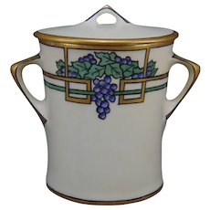 "Hutschenreuther Selb Bavaria Grape Design Jelly/Jam Jar (Signed ""E. Frank""/c.1910-1930)"