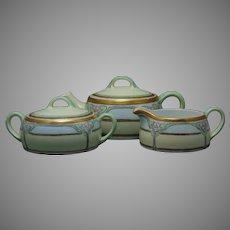 Bavaria Art Deco Floral Design Tea Pot, Creamer & Sugar Set (c.1910-1930)