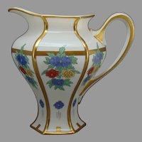 """Lenox Belleek (American) Enameled Floral Design Cider/Lemonade Pitcher (Signed """"G.M.A.""""/c.1906-1924)"""