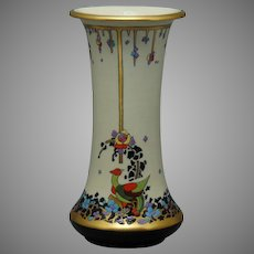 "American Satsuma Art Deco Bird & Floral Design Vase (Signed ""O.S. Bickett""/c.1910-1940)"
