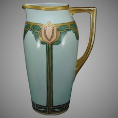 "Bavaria Porcelain Tulip Design Pitcher (Signed ""Wynette Wright""/c.1910-1940)"
