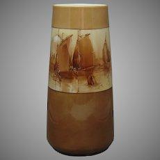 """Willets Belleek (American) Sailing Ships/Harbor Design Vase (Signed """"McDowell""""/Dated 1912)"""