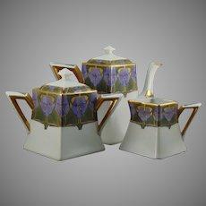 """Limoges Art Deco Floral Design Teapot, Creamer & Sugar Set (Signed """"A. Hastings""""/c.1910-1930)"""