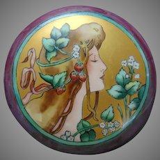 """Porcelain Blank Privat Livemont """"Strawberry Lady"""" Design Covered Jar (Signed/c.1900-1930) - Keramic Studio Design"""