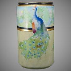 B&Co. Limoges Peacock Motif Vase (c.1900-1914)