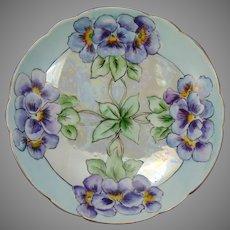 D&Co. Limoges Pansy Design Pedestal Dish (c.1900-1920)