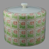 """Lenox Belleek (American) Floral Design Covered Biscuit Jar (Signed """"HEH""""/c.1912-1924) - Keramic Studio Design"""