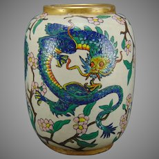 """American Satsuma Chinese Dragon Design Vase (Signed """"E.F.D.""""/Dated 1921)"""