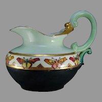 "T&V Limoges ""Conventionalized Butterfly"" Design Pitcher (c.1908-1930) - Keramic Studio Design"