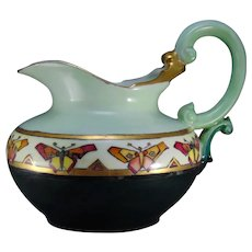 "T&V Limoges ""Conventionalized Butterfly"" Design Pitcher (c.1908-1930) - Keramic Studio Design"