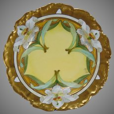 """T&V Limoges Lily Design Bowl (Signed by Stouffer Studio Artist """"A. Piron""""/c.1905-1920)"""