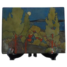 "T&V Limoges Scenic Village ""Decorative Landscape"" Design Plaque/Tile (c.1907-1930) - Keramic Studio Design"