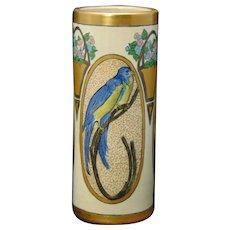 American Satsuma Bird & Florals Design Vase (c.1917-1930) - Keramic Studio Design
