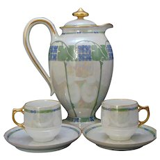 Haviland Limoges Coffee/Chocolate Pot & Cups Set (c.1907-1930) - Keramic Studio Design