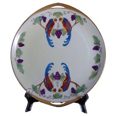 "Rosenthal Selb Bavaria Parrot & Grape Design Plate (Signed ""M.E.C.""/Dated 1923) - Keramic Studio Design"