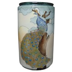 """D&Co. Limoges Peacock Design Vase (Signed """"Anna Young - Whitworth College""""/c.1910-1930)"""