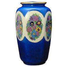 """American Satsuma Enameled Floral Design Vase (Signed """"Nan Robins""""/c.1910-1940)"""