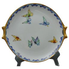 Hutschenreuther Selb Bavaria Butterfly Design Handled Plate (c.1900-1940) - Keramic Studio Design