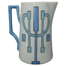 """Victoria Austria Art Deco Pitcher (Signed """"Alex"""" and """"To Bessie from Frank Woods""""/Dated 1915)"""