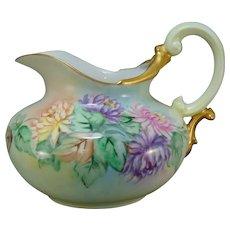 "T&V Limoges Chrysanthemum Design Pitcher (Signed ""E. Jordan""/c.1900-1930)"