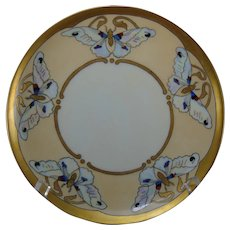 "Haviland Limoges Butterfly Design Plate (Signed ""Ryan""/Dated 1917) - Keramic Studio Design"