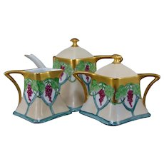 Hutschenreuther Favorite Bavaria Grape Design Tea Pot, Creamer & Sugar Set (c.1902-1930) - Keramic Studio Design